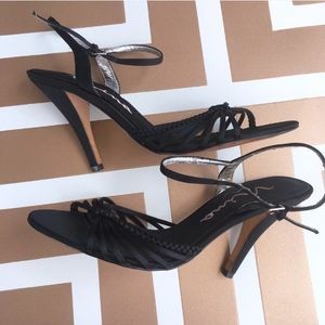 Nina black strappy open toe heels leather sole 8.5